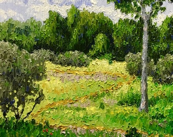 "Original Impressionist style Impasto oil 11x14 ""The Zigzag Path"""