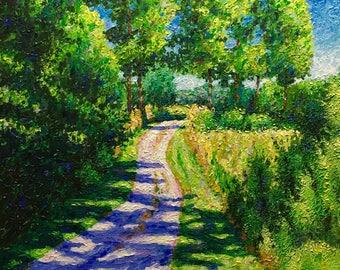"Original Acrylic Impressionist style Impasto ""Pathways 2"" 16x20."