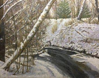 "Original Impressionist Oil Landscape Painting ""Michigan Gray"" 24x30."