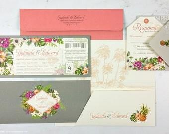 Bold Botanicals Boarding Pass Wedding Invitation Sample | Hawaii Wedding | Destination Wedding Invitation