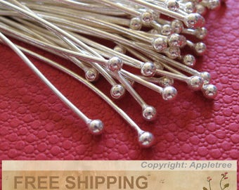 Sterling Silver Ball Head Pins 1.5 inches 24 gauge 200 pcs Wholesale Bulk