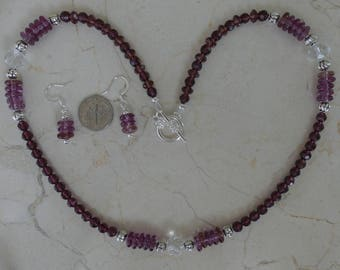 Purple Necklace, Glass Necklace, Beaded Necklace, Purple Earrings, Purple Beaded Necklace, Purple, Beaded Earrings, Purple Beaded Earrings
