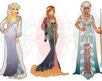 Full Set 4 Princesses Mucha Style CROSS STITCH PATTERNS Elsa, Anna, Kida, Original Art by Hannah Alexander