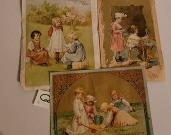 3 Victorian cards with children  coffee ad antique advertising ephemera old scrap paper art supplies vintage Q8