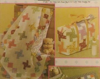Simplicity 4663 Baby Quilt and Accessories Instructions, Easy Quilt in a Day, Changing Pad, Diaper bag, Baby Gift, Nursery Decor