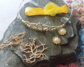 Deluxe Princess Belle Accessories Set of Necklace, Hairband,  Crown and Earrings.