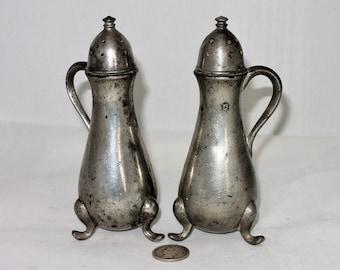 Vintage Solid Pewter Salt and Pepper Shakers