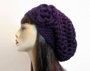 Crochet Purple Slouchy Hat with flower Crochet Beanie Purple Slouch Cap Purple Slouchy Beret Purple Hat Crochet Slouch Hat Purple beanie