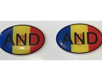 Andorra AND Domed Gel Stickers (2x) for Laptop Tablet Book Fridge Guitar Motorcycle Helmet ToolBox Door PC Smartphone