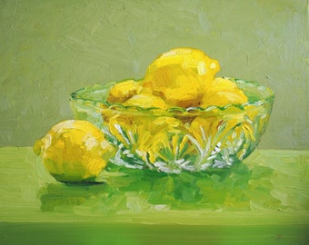 Lemons in a Glass Bowl