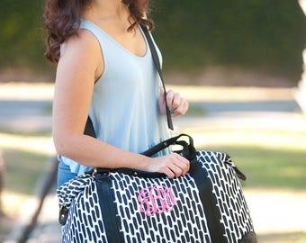 Monogammed Travel Bag ~ Monogrammed Black & White Overnight Bag ~ Personalized Luggage ~ Monogrammed Travel Bag ~ FREE Personalization