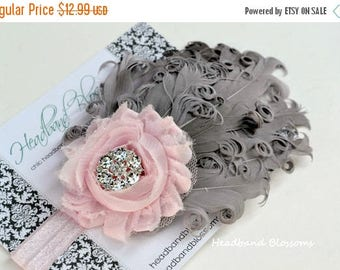 SALE Shabby Chic Pale Pink Chiffon Flower with Gray Curled Goose Feathers on Elastic Headband - Photo Prop - Newborn Baby Toddler - Wedding