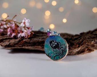 Aquarius astrology necklace-zodiac jewelry-wood jewelry-forest chic-moon child necklace