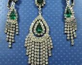 ON SALE Vintage Green & Clear Rhinestone Necklace Earring Set - 1940's 1950's Art Deco Jewelry - Vintage Bridal Wedding Jewelry - Demi Parur
