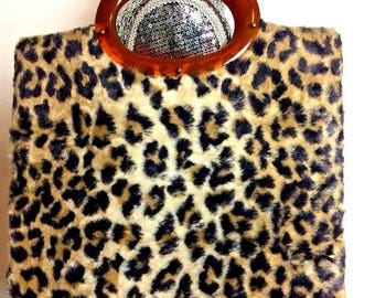On Sale 1960's Vintage Leopard Faux Fur Handbag Clutch Purse * Retro Rockabilly Mid Century Purse * Old Hollywood Regency Glamour