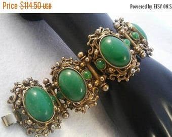 On Sale Vintage Green Gold Chunky Wide Bracelet - Retro 1940's 1950's- High End Hard To Find Art Deco Jewelry