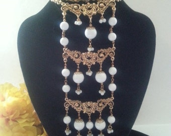 ON SALE White Lucite Necklace - Bib Statement Necklace - Vintage Runway Necklace - High End Collectible