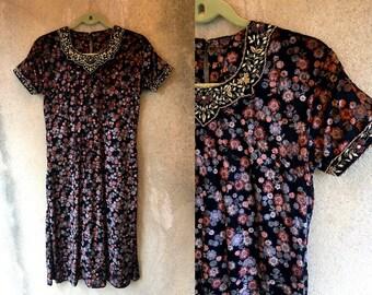 Velvet Floral Layered Bohemian Fancy Applique Trim Collar Midi Dress