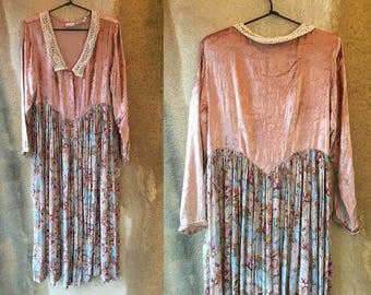 Amazing VELVET FLoral Pastel Shabby Chic Romantic Lace Collar Grunge Bohemian Dress