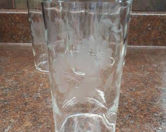 Set of 6 Vintage Cornflower Pattern Crystal Glasses
