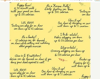 """15% off thru Mar.19th HEALTHY EATS-by the half yard by Ink & Arrow fabrics-""""how to burn calories""""- funny sayings on yellow-24788 S"""