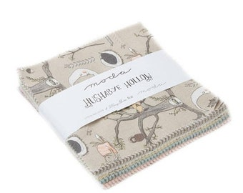 "15% off thru Mar.19th Charm pack HUSHABYE HOLLOW from Lydia Nelson of Dreamy Quilts 42 5"" squares cotton fabric 49010pp baby nursery theme"