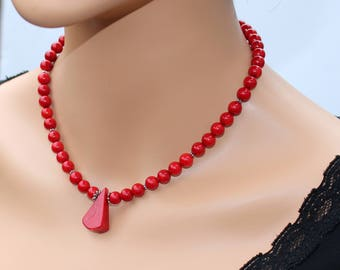 Genuine Red Coral Handcrafted Necklace Luxury Italian Natural Red Coral Elegant Stylish Modern Choker Evening Holiday Wedding Unique Gift