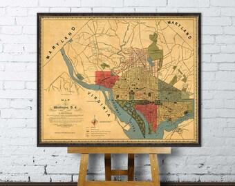 Washington DC  map - Wonderful map of Washington DC - Vintage map archival print - Washingtom DC map print
