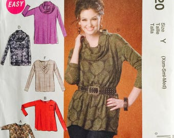 McCall's M7020, Size X Small, Small, Medium, Misses' Tops and Tunic Pattern, UNCUT, Pullover Top, Cowl, Loose Fitting, Casual, Easy