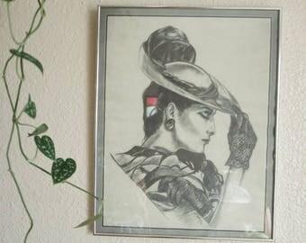 Framed Vintage Art Deco Fedora Lady Charcoal Artwork - signed