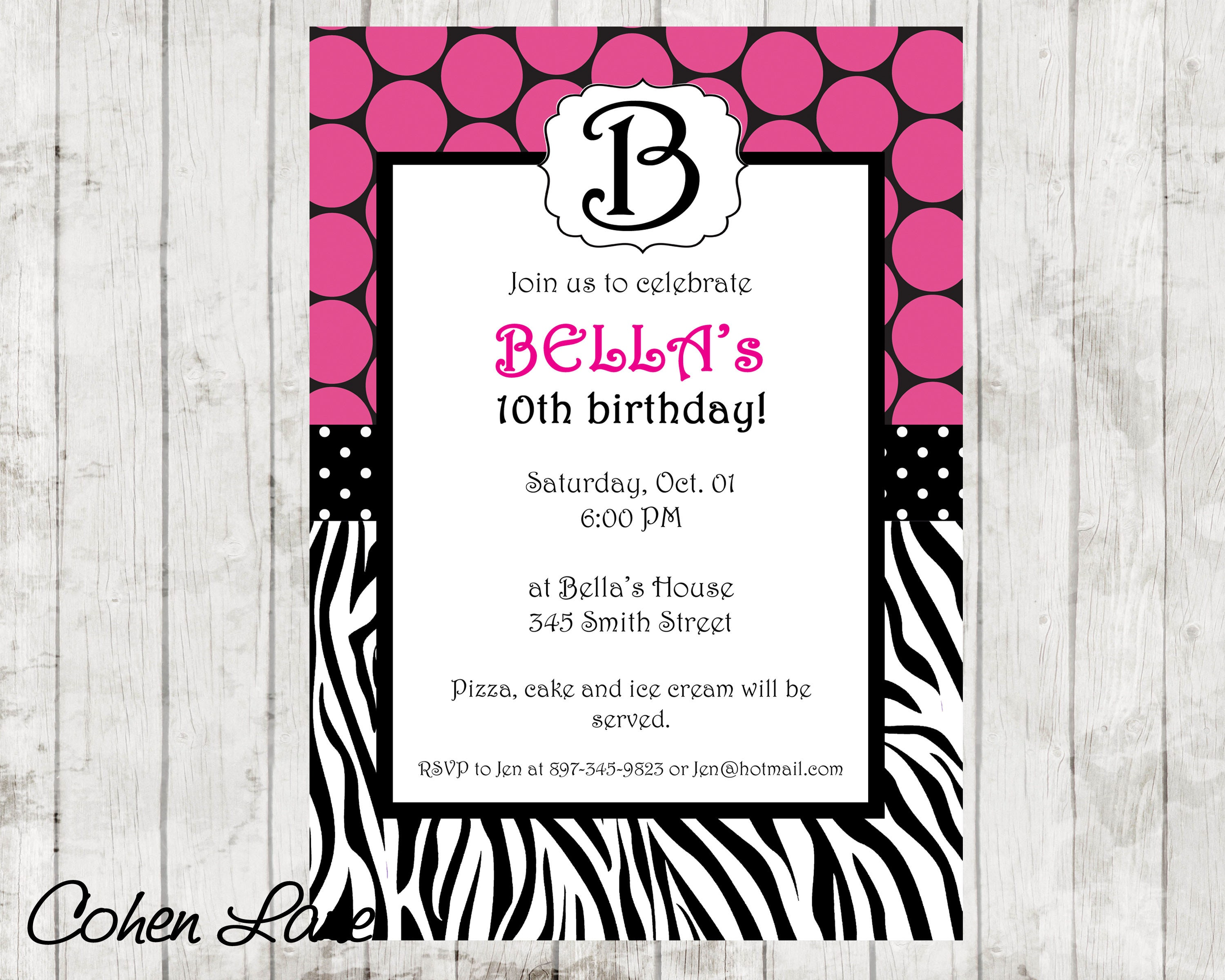 Printable Zebra Print Invitation. Monogram Invite. Birthday