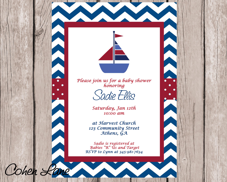 Nautical Baby Shower Invitation Sailboat Invitation Baby