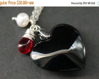 SUMMER SALE Black Heart Necklace. Black Glass Heart Necklace with Wire Wrapped Red Teardrop and Fresh Water Pearl. Goth Necklace. Handmade J