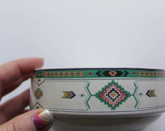 Vintage Studio Nova Stoneware Adirondack - Aztec - Pattern Bowl Dish 1980s