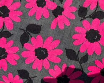 Fantastic, vintage 1970's fabric! Huge hot pink flowers, floral, grey, black, dead stock yardage, 4 yards, retro, groovy!