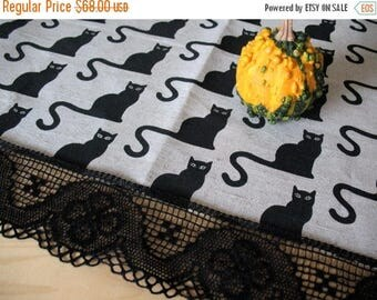 "Linen Tablecloth Burlap Halloween Cat Black Natural Gray Washed Linen Lace 62"" x 62"""