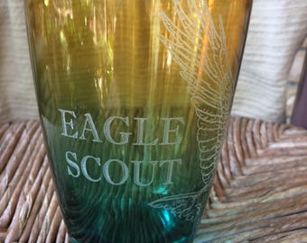 Eagle Scout Colored Glass - Laser Engraved Drinking Glass