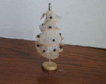 Vintage Christmas Tulle Tree with Glitter and Glass Beads Japan