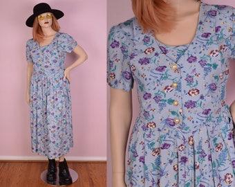 90s Floral Print Dress/ US 10/ 1990s/ Short Sleeve