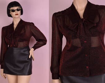 80s Semi Sheer Black and Red Metallic Mesh Bow Blouse/ Large/ 1980s/ Long Sleeve