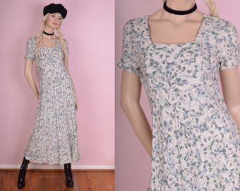 90s Floral Print Maxi Dress/ US 7-8/ 1990s/ Short Sleeve