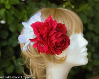 Red and White Bridal Flower Hair Clip with Feathers - Handmade - One of a Kind - Wedding - Roses
