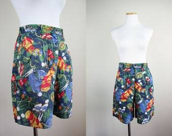 Golf Novelty Print Shorts + Vintage 90s TAIL High Waist Golf Shorts + Pleated Cotton Shorts + Navy Blue Green Red + Sports Novelty Print +