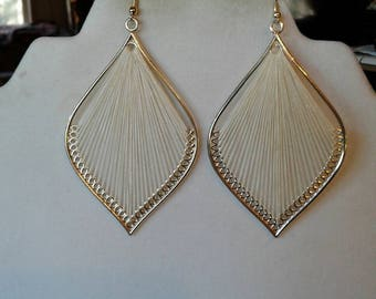 White and Silver Large Leaf  Sexy Thread Boho, Chandlier, Native, Ornament Earrings Southwestern, Bohemian, Hippie Peruvian, Ready to Ship