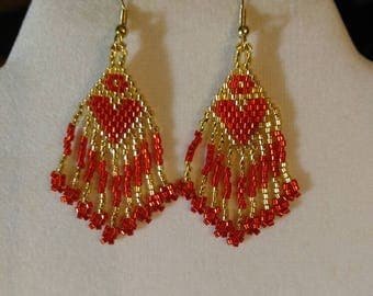 Native American Design Beaded Red and Silver Heart Earring Ready to Ship Southwestern, Boho, Hippie Great Gift