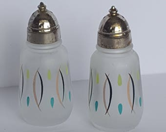 Vintage Hazel Atlas Retro Hand Painted Atomic Age Salt and Pepper Shakers
