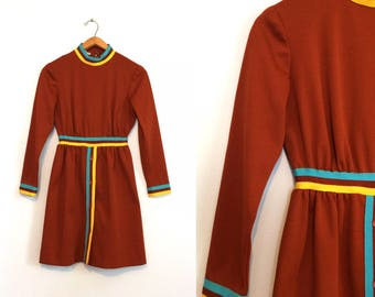 Vintage Rust 70s Poly Dress / Sporty Turquoise, Yellow, Brown Stripes Dress / Boho Mod Dress / Small