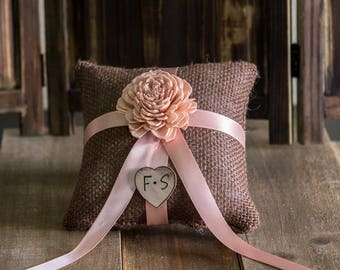 Peach Sola Flower Ring Bearer Pillow, You pick flower and ribbon color
