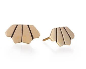 ON SALE 14k Gold Stud Earrings , Gold Studs, Tiny Post Earrings, Everyday Earrings, 14K Gold Jewelry, Simple Gold Earrings, Geometric, Moder