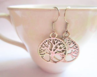 Tree of Life Earrings - Silver Tree Earrings
